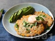 Рецепта Солени вегетариански пържени кюфтенца от царевица, брашно от елда и кориандър